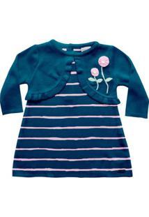 Vestido Infantil - Bolero Falso Listrado - Malha - Azul Marinho - Noruega - P