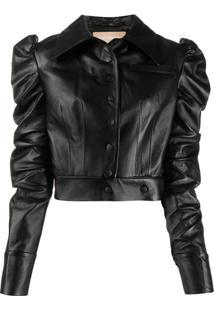 Matériel Cropped Faux-Leather Jacket - Preto