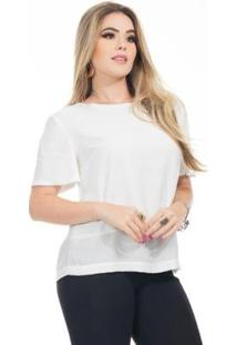 Blusa Clara Arruda Baby Look 20633 Feminina - Feminino-Off White