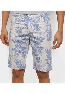 Bermuda Sarja Ecxo Floral Masculina - Masculino-Off White+Azul