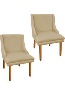 Kit 02 Cadeira Poltrona Decorativa Liz Suede Bege - D'Rossi