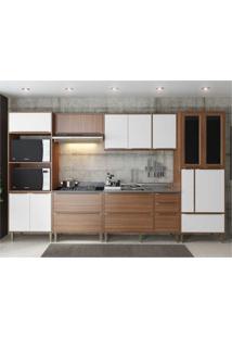 Cozinha Completa Multimã³Veis Com 6 Peã§As Calã¡Bria 5450 Nogueira/Branco - Incolor/Marrom - Dafiti