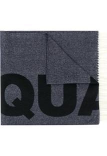 Dsquared2 Cachecol Jacquard De Lã Com Logo - Azul