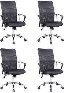 Conjunto Com 4 Cadeiras De Escritório Diretor Giratórias Vancouver Com Braços Preto