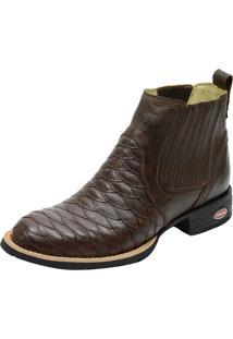 Botina Escamada Bico Redondo Atron Shoes 965 Couro Café