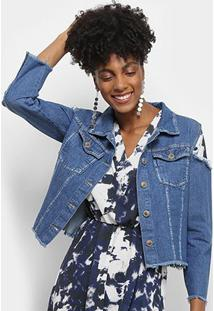 Jaqueta Jeans Razon Croped Abertura Ombro Feminina - Feminino-Azul