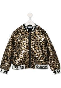 Dolce & Gabbana Kids Jaqueta Bomber Animal Print - Preto