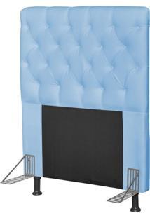 Cabeceira Cama Box Solteiro 90Cm Cristal Corino Azul Bebê - Js Móveis