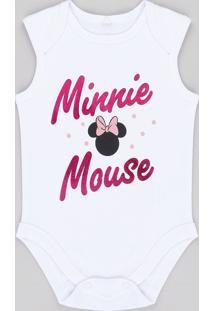 Body Regata Infantil Minnie Branco