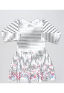 Vestido Infantil Listrado Com Borboletas Manga Longa Off White