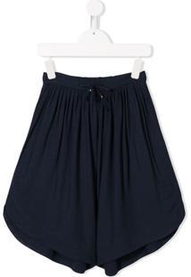 Chloé Kids Short Oversized Com Cordão De Ajuste - Azul