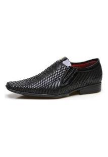 Sapato Social Masculino Calvest Em Couro Tressê Preto - 2320C253-Dm