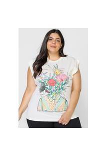 Camiseta Colcci Flores Do Cerrado Off-White