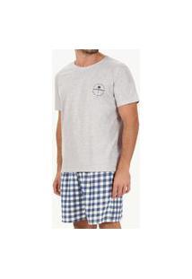 Pijama Masclulino Curto Cor Com Amor 30094 Cinza