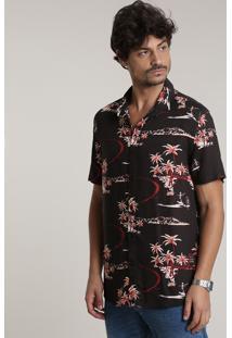 Camisa Masculina Tradicional Estampada Tropical Com Esqueleto Manga Curta Preta