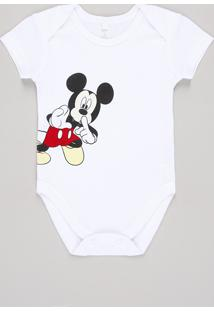 Body Infantil Mickey Mouse Manga Curta Branco