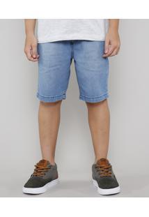 Bermuda Jeans Infantil Com Cordão E Bolsos Azul Claro