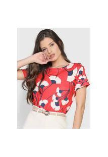 Camiseta Dimy Floral Vermelha/Off-White
