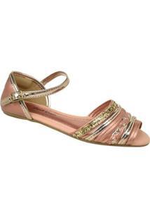 Sandália Infantil Pink Cats Rasteira Feminina - Feminino-Rose Gold
