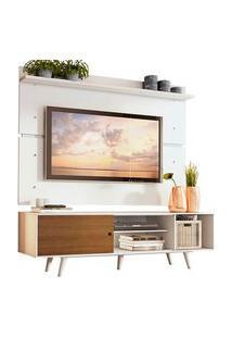 Rack Madesa Dubai E Painel Para Tv Até 65 Polegadas Com Pés Branco/Rustic 9B09 Cor:Branco/Rustic