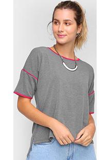 Camiseta Dooplex Moletinho Frisos Feminina - Feminino-Chumbo