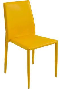 Cadeira Decorativa Sala E Cozinha Karma Pvc Amarela - Gran Belo