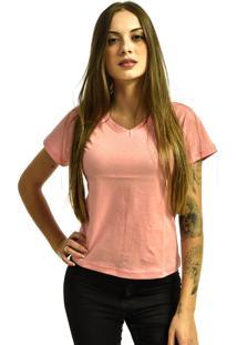 Camiseta Rich Young Gola V Básica Lisa Simples Malha Rosa Claro