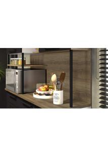 Cozinha Compacta 5 Portas 1 Gaveta Bali Itatiaia Preto Matte/Castanho
