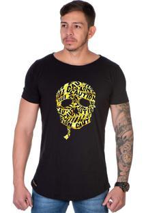 Camiseta Lucas Lunny Oversized Longline Caveiras Mumia Preta
