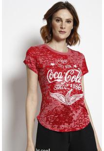 """Camiseta """"Coca-Colaâ® Since 1886""""- Vermelha & Branca-Coca-Cola"""