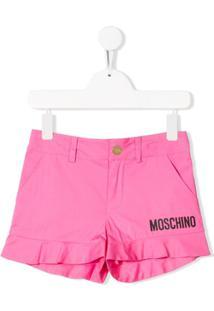 Moschino Kids Short Com Detalhe De Logo - Rosa