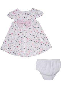 Vestido Infantil - Tricoline Com Laços - Algodão E Poliéster - Branco - Minimi - M