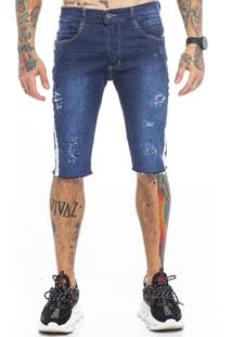 Bermuda Rich Young Jeans Azul Com Fita Lateral Branca - Kanui