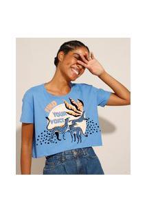 """Camiseta Cropped De Algodão """"Find Your Voice"""" Manga Curta Decote Redondo Azul"""