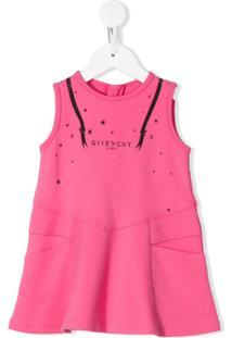 Givenchy Kids Vestido Com Estampa De Logo - Rosa