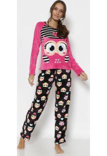 bd8a71efd239ea Pijama Soft Coruja Com Bordado- Rosa & Salmãopuket