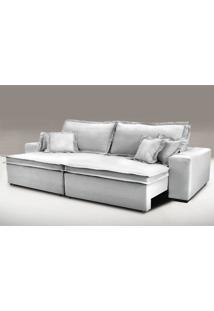 Sofa Retrátil E Reclinável Com Molas Cama Inbox Premium 2,32M Tecido Em Linho Cinza Claro