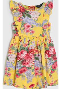 Vestido Polo Ralph Lauren Infantil Floral Amarelo/Vermelho