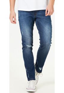 Calça Jeans Masculina Skinny Destroyed