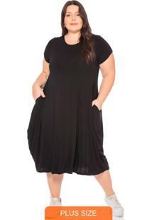Vestido Feminino Básico Midi Preto