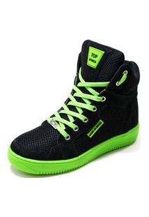 Tênis Sneaker Top Fitness Casual Dança Preto/Verde