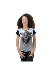 Camiseta Ramavi Feminina Felino Preto Preto Gg