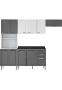 Cozinha Modulada 5 Peças Com Tampo E Nevada 5694Tp-Multimóveis - Branco Premium / Grafite Premium