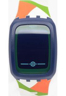 Relógio Digital Geométrico Svqn101- Azul Marinho & Brancswatch