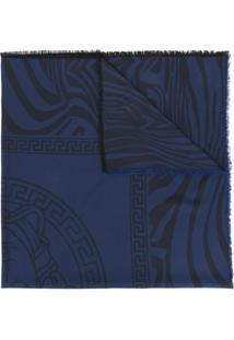 Versace Echarpe 'Zebra Medusa' - Azul