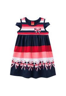 Vestido Infantil - Meia Malha - Listras Com Laço - Azul Marinho - Kyly