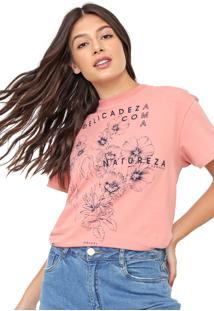 Camiseta Colcci Floral Rosa
