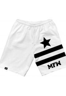 Bermuda Moletom Mfw Army Star Com Bolsos Masculina - Masculino-Branco