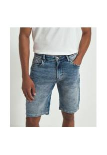 Bermuda Jeans Slim Com Bolsos | Marfinno | Azul | 42