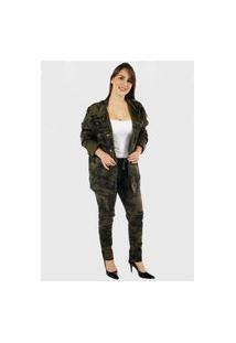 Jaqueta Camuflada Militar Premium Feminina